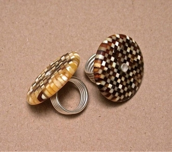 Sterling Silver Ring with Amber Checkerboard